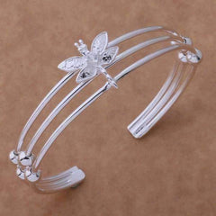 Dragonfly Sterling Silver Dangling Earrings and Matching Cuff Bracelet Set