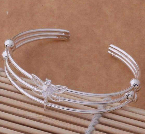 Feshionn IOBI bracelets Dragonfly Sterling Silver Dangling Earrings and Matching Cuff Bracelet Set