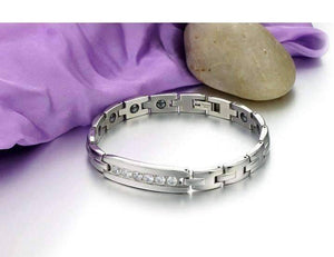 Feshionn IOBI bracelets Elegant CZ Accented Stainless Steel Germanium Magnetic Link Therapy Bracelet