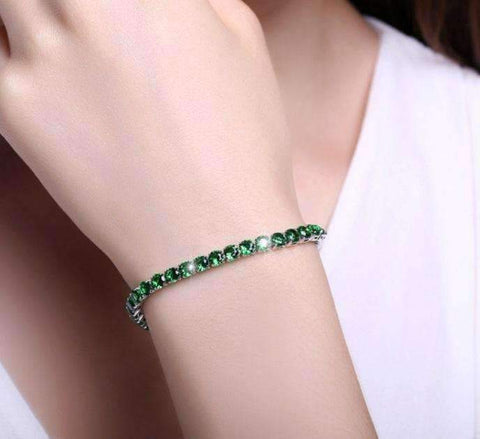 Feshionn IOBI bracelets Emerald Green / 17 ON SALE - Petite Luxe 4mm Swiss CZ Tennis Bracelet