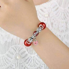 Essence of Love Red & Silver Bangle Bracelet