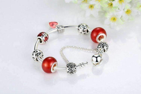 Feshionn IOBI bracelets Essence of Love Red & Silver Bangle Bracelet