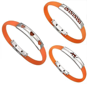 Feshionn IOBI bracelets Gecko Orange Band Silicone Bracelet with Stainless Steel Cut Out Designs ~ Choose Your Design