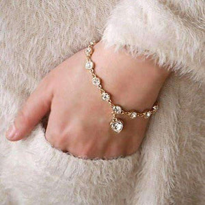Feshionn IOBI bracelets GET BOTH Clear on White and Yellow Gold DISCOUNTED Linked Forever Crystal Heart Charm Bracelet - Choose Your Color
