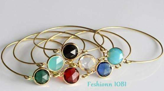 Feshionn IOBI bracelets Athena Red Goddess Wire Bangle Bracelet with Faceted Quartz Glass Crystal - Seven Colors to Choose!