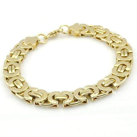 Feshionn IOBI bracelets Gold Alpha 11mm Flat Byzantine Link 18K Gold Plated or Stainless Steel Men's Bracelet