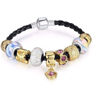 Feshionn IOBI bracelets Gold and Glass Black Leather Braid Bracelet