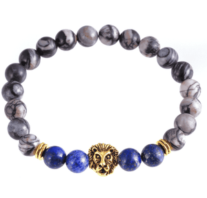 Feshionn IOBI bracelets Gold/Blue Lion Head Genuine Agate Gemstone Bead Bracelet