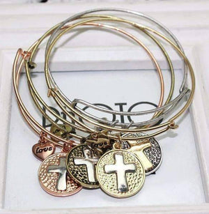 Feshionn IOBI bracelets Gold CLEARANCE - Love Cross Adjustable Bangle Bracelet - Choose Your Color