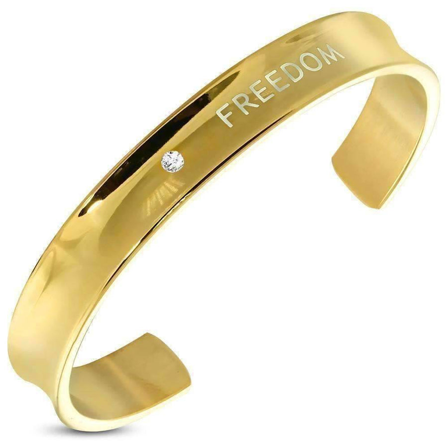 "Feshionn IOBI bracelets Gold ""Freedom"" Engraved Inspirational Bangle Bracelet Gold Plated Stainless Steel with CZ Solitaire"