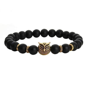 Feshionn IOBI bracelets Gold Tone ON SALE - Owl Genuine Black Agate Gemstone Bead Bracelet