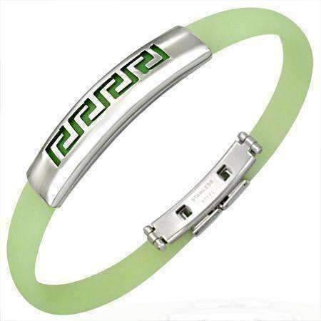 Feshionn IOBI bracelets Greek Lime Green Silicone Bracelet with Stainless Steel Cut Out Designs ~ Choose Your Design