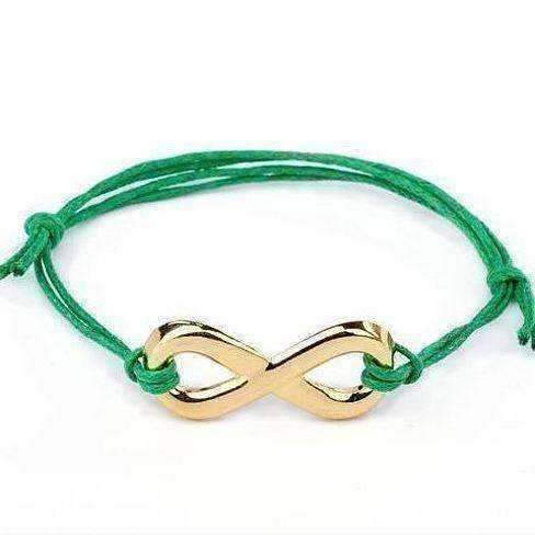 Feshionn IOBI bracelets Green and Gold Tone Infinity Friendship Bracelet