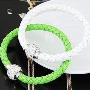 Feshionn IOBI bracelets Green ON SALE - French Braid Shamballa Magnetic Bangle Bracelet