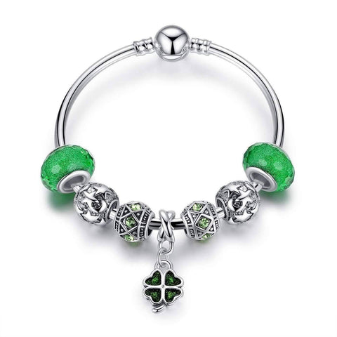 "Feshionn IOBI bracelets Green ON SALE - ""Luck of the Irish"" Silver Bangle Bracelet"