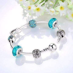 Inspiration Aqua Glass & Crystal Hearts Silver Bangle Bracelet
