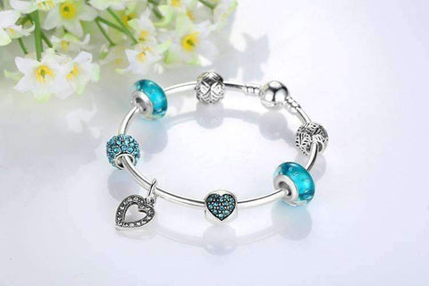 Feshionn IOBI bracelets Inspiration Aqua Glass & Crystal Hearts Silver Bangle Bracelet