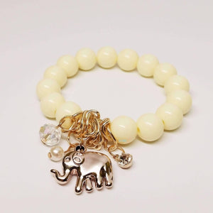 Feshionn IOBI bracelets Ivory White Lucky Elephant Charm Bead Bracelet - Choose Your Color