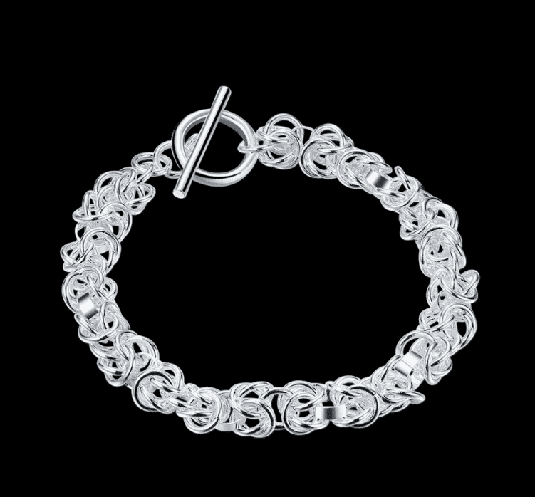 Feshionn IOBI bracelets Silver Knotted Links Sterling Silver Toggle Bracelet