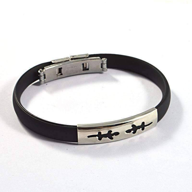 Feshionn IOBI bracelets Celestial Black Band Silicone Bracelet with Stainless Steel Cut Out Designs ~ Choose Your Design