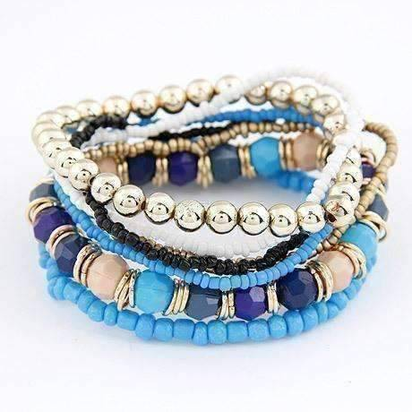Feshionn IOBI bracelets Light and Dark Blue Bohemian Beads Multi Layered Bracelet