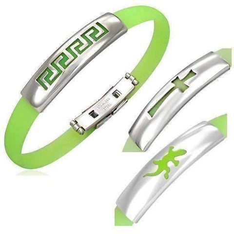 Feshionn IOBI bracelets Lime Green Silicone Bracelet with Stainless Steel Cut Out Designs ~ Choose Your Design