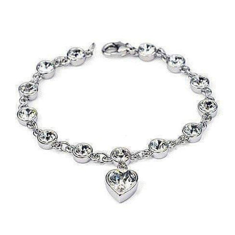 Feshionn IOBI bracelets Linked Forever Crystal Heart Charm Bracelet - Choose Your Color