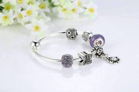 "Feshionn IOBI bracelets ""Meadow"" Purple Butterfly & Hearts Silver Bangle Bracelet"