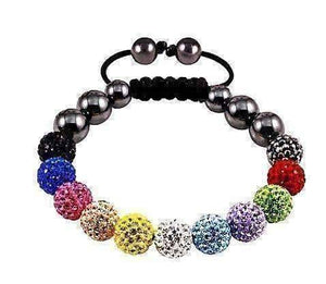 Feshionn IOBI bracelets Multi Color Multi Color Small Sparkly Crystals Hand Made Shamballa Bead Bracelet