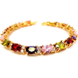 Feshionn IOBI bracelets Multi Multicolor Oval Austrian Crystal Tennis Bracelet in Gold