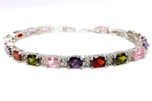 Feshionn IOBI bracelets Multi Multicolor Oval Austrian Crystal Tennis Bracelet in White Gold with Extender