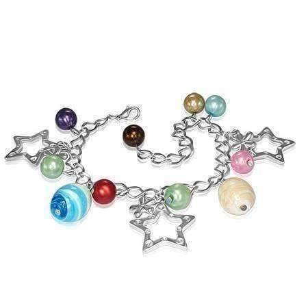 Feshionn IOBI bracelets Multi Star Studded Glass Bead Silver Charm Bracelet ~ Four Fun Colors to Choose!