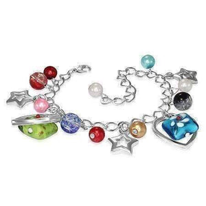 Feshionn IOBI bracelets Multi Starstruck Lamp Work Glass Bead Heart Charm Bracelet ~ Two Colors to Choose
