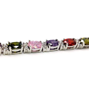 Feshionn IOBI bracelets Multicolor Oval Austrian Crystal Tennis Bracelet in White Gold with Extender