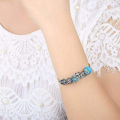 ON SALE - Beary Cute Aqua Crystal & Hearts Silver Bangle Bracelet