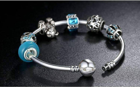 Feshionn IOBI bracelets ON SALE - Beary Cute Aqua Crystal & Hearts Silver Bangle Bracelet