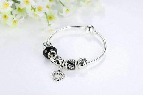 Feshionn IOBI bracelets ON SALE - Love & Family Black Glass Silver Bangle Bracelet