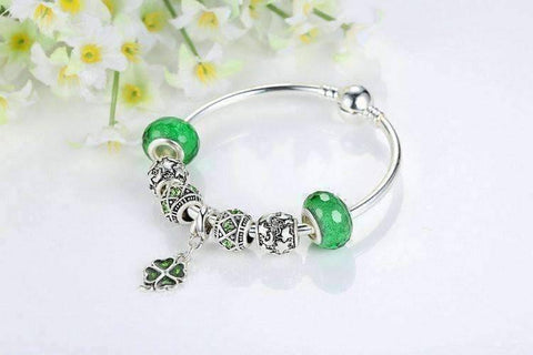 "Feshionn IOBI bracelets ON SALE - ""Luck of the Irish"" Silver Bangle Bracelet"