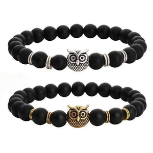 Feshionn IOBI bracelets ON SALE - Owl Genuine Black Agate Gemstone Bead Bracelet