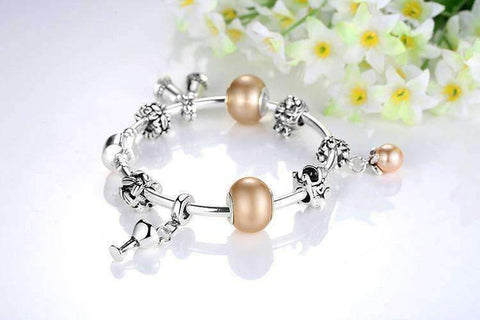 Feshionn IOBI bracelets ON SALE - Peach Champagne Celebration Charm Bead Collection Silver Bangle Bracelet