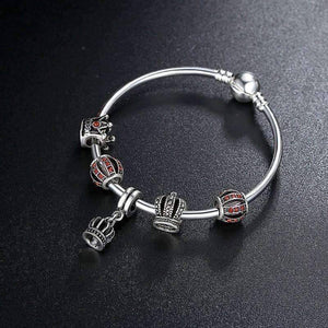 Feshionn IOBI bracelets ON SALE - Red Queen Crystal Crown Silver Bangle Bracelet