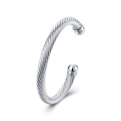 Feshionn IOBI bracelets ON SALE - Swirling Silver Bold Bangle Cuff Bracelet