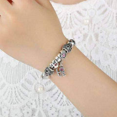 ON SALE - True Love Heart Charm Bead Collection Silver Bangle Bracelet