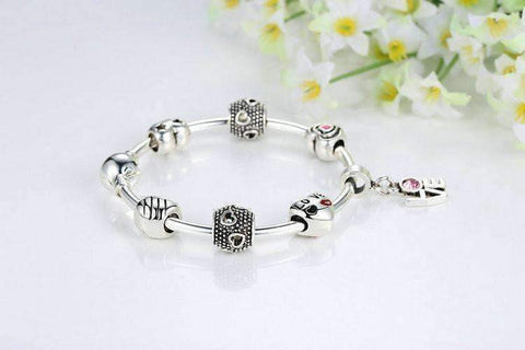 Feshionn IOBI bracelets ON SALE - True Love Heart Charm Bead Collection Silver Bangle Bracelet
