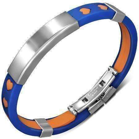 Feshionn IOBI bracelets Orange and Blue CLEARANCE - Team Spirit Rubber Bracelet with Engraveable Stainless Steel Plate