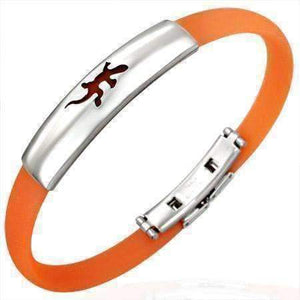 Feshionn IOBI bracelets Orange Band Silicone Bracelet with Stainless Steel Cut Out Designs ~ Choose Your Design