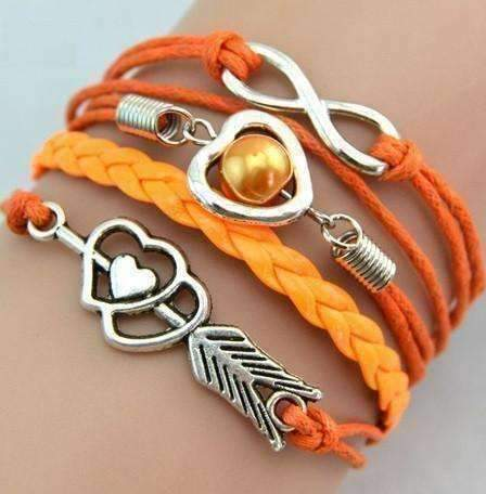 Feshionn IOBI bracelets Orange Forever Love Handmade Braided Leather Friendship Bracelet - Three Colors To Choose