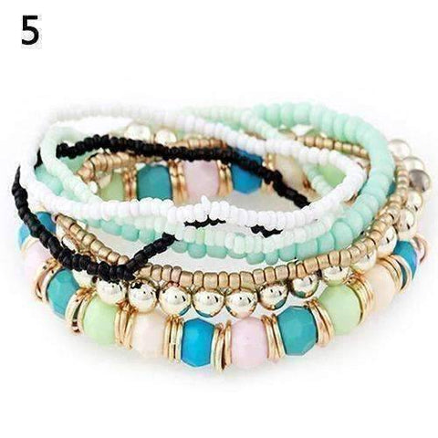 Feshionn IOBI bracelets Pastel Green and Pink Bohemian Beads Multi Layered Bracelet