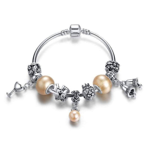 Feshionn IOBI bracelets Pearl ON SALE - Peach Champagne Celebration Charm Bead Collection Silver Bangle Bracelet