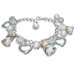 Three Hearts Lamp Work Glass Bead Charm Bracelet ~ Three Colors to Choose